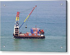 Crane Barge With Cargo Acrylic Print by Science Photo Library