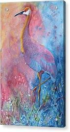 Crane Acrylic Print by Nancy Jolley