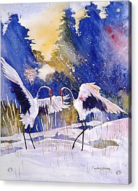 Cranes In Winter Inspired By Quan Zhen Acrylic Print