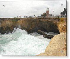 Crashing Surf Near The Lighthouse Acrylic Print by Ron Regalado