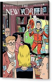 Crashing The Gate - Man In A Spacesuit Crashes Acrylic Print by Dan Clowes