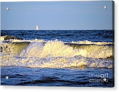 Crashing Waves And White Sails Acrylic Print