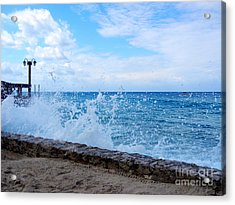 Acrylic Print featuring the photograph Crashing Waves In Cozumel by Debra Martz