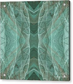 Crashing Waves Of Green 4 - Square - Abstract - Fractal Art Acrylic Print by Andee Design
