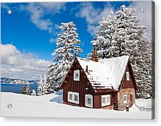 Crater Lake Home - Crater Lake Covered In Snow In The Winter. Acrylic Print by Jamie Pham