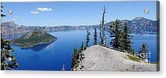 Crater Lake Scenic Panorama Acrylic Print by John Kelly