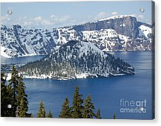 Acrylic Print featuring the photograph Crater Lake With Snow by Debra Thompson