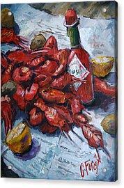 Crawfish Tabasco Acrylic Print by Carole Foret
