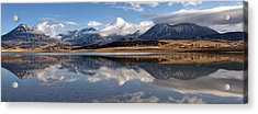 Crawford Reservoir And The West Elk Mountains Acrylic Print by Eric Rundle