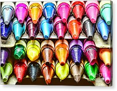 Crayons Colors Of The Rainbow Acrylic Print by Paul Ward