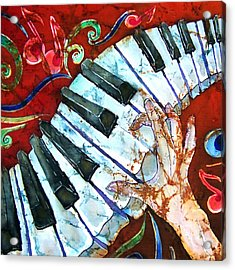 Crazy Fingers Piano Square Acrylic Print by Sue Duda
