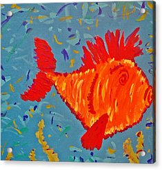 Crazy Fish Acrylic Print by Yshua The Painter