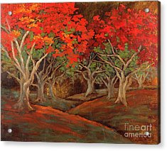 Acrylic Print featuring the painting Crazy Orange Trees by Vic  Mastis