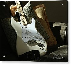 Cream Guitar Acrylic Print