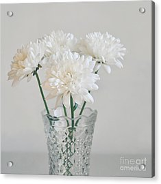 Creamy White Flowers In Tall Vase Acrylic Print by Lyn Randle