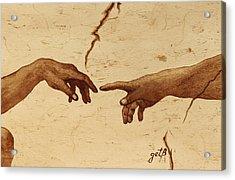 Creation Of Adam Hands A Study Coffee Painting Acrylic Print by Georgeta  Blanaru
