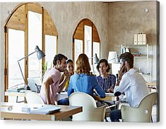 Creative Business People Discussing In Office Acrylic Print by Morsa Images
