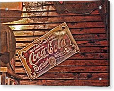 Creative Vintage Coca Cola Sign Acrylic Print by Linda Phelps