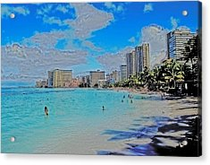 Acrylic Print featuring the photograph Creative Waikiki by Caroline Stella