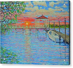 Creek Club Docks At Sunset Acrylic Print by Dwain Ray