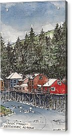 Acrylic Print featuring the mixed media Creek Street In Ketchikan by Tim Oliver