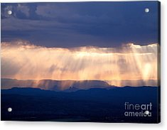 Crepuscular Light Rays Just After Sunrise On Sedona Arizona As Seen From Jerome Acrylic Print