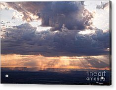 Acrylic Print featuring the photograph Crepuscular Light Rays Over Sedona From Jerome Arizona by Ron Chilston