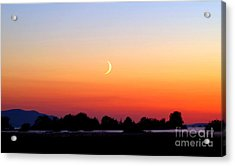 Crescent Moon At Sunset  - Lummi Bay Acrylic Print by Douglas Taylor