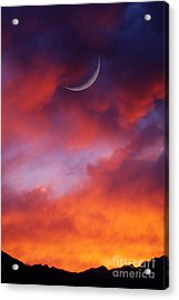 Acrylic Print featuring the photograph Crescent Moon In Purple by Joseph J Stevens