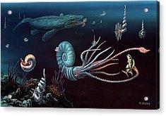 Cretaceous Marine Animals Acrylic Print by Richard Bizley