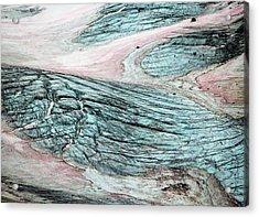 Crevassed Glacier With Pink Algae Acrylic Print