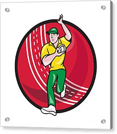 Cricket Fast Bowler Bowling Ball Front Cartoon Acrylic Print by Aloysius Patrimonio