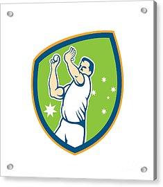 Cricket Fast Bowler Bowling Ball Shield Cartoon Acrylic Print