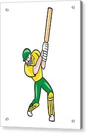 Cricket Player Batsman Batting Front Cartoon Isolated Acrylic Print by Aloysius Patrimonio