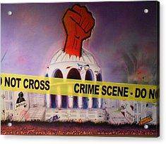 Crime Scene Do Not Cross Acrylic Print by Justin Malangoni