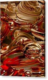 Crimson And Gray Glass Macro Ws4 Acrylic Print by David Patterson