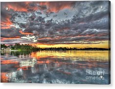 Crimson Sunset Over Cockle Bay Acrylic Print by Geoff Childs