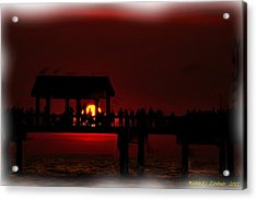 Acrylic Print featuring the digital art Crimson Sunset Painting by Richard Zentner