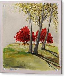Crimson Twins Acrylic Print by John Williams