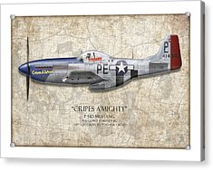 Cripes A Mighty P-51 Mustang - Map Background Acrylic Print by Craig Tinder