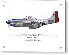 Cripes A Mighty P-51 Mustang - White Background Acrylic Print by Craig Tinder