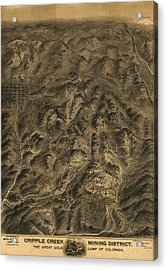 Antique Map - Cripple Creek Mining District Birdseye Map - 1895 Acrylic Print by Eric Glaser