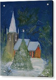 Crisp Holiday Night Acrylic Print by Louise Burkhardt