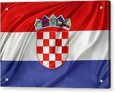 Croatian Flag Acrylic Print by Les Cunliffe