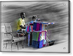 Crochet Piano Man Acrylic Print by Bill Cannon