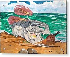 Acrylic Print featuring the painting Crocodile Emphysema by Lazaro Hurtado