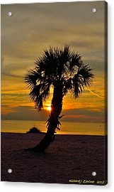 Crooked Palm Sunset Acrylic Print by Richard Zentner