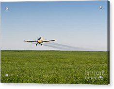 Crop Duster Airplane Flying Over Farmland Acrylic Print