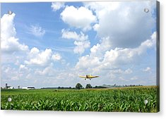 Acrylic Print featuring the photograph Yellow Crop Duster by Charles Kraus