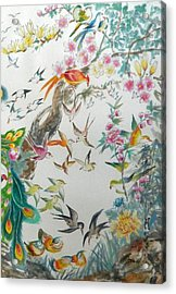 Cropped 3 - 100 Birds Acrylic Print